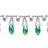Rhinestone Trim Navette By Yard 15mm Emerald Aurora Borealis/silver